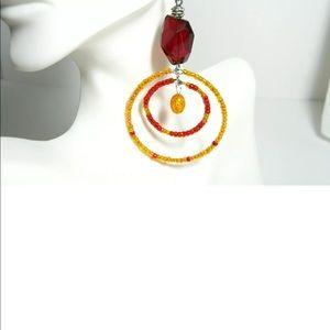 Ruby Red Jumbo Crystal BOHO Style Hoop Earrings